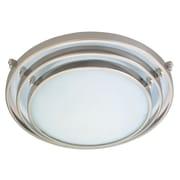 PLC Lighting Cascade 1 Light Flush Mount; Satin Nickel / 2.75'' H x 8'' W