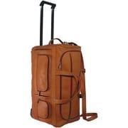 David King 22'' Leather 2 Wheeled Travel Duffel; Tan