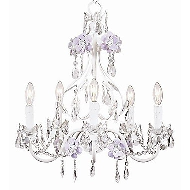 Jubilee Collection Flower Garden 5 Light Chandelier; Lavender / White