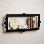 DanyaB Scalloped Metal Rectangular Floating Shelf; Black