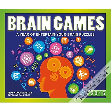 2016 BrownTrout Publishers Day-To-Day Box Calendar, Brain Games, English