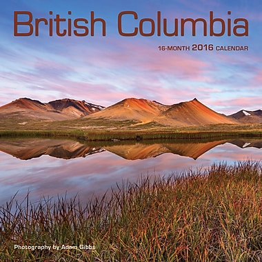 BrownTrout Publishers – Calendrier mural 2016, 12 mois, British Columbia, 7 x 7 po, anglais
