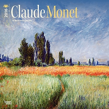 BrownTrout Publishers – Calendrier mural 2016, 12 mois, Claude Monet, 12 x 12 po, anglais