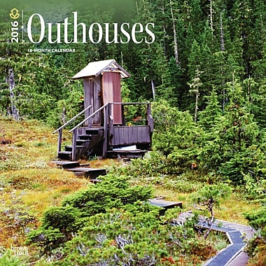 2016 BrownTrout Publishers 12-Month Wall Calendar, Outhouses, 12