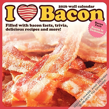 BrownTrout Publishers – Calendrier mural 2016, 12 mois, I Love (cœur) Bacon, 12 x 12 po, anglais
