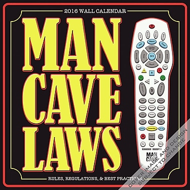 BrownTrout Publishers – Calendrier mural 2016, 12 mois, Man Cave Laws, 12 x 12 po, anglais