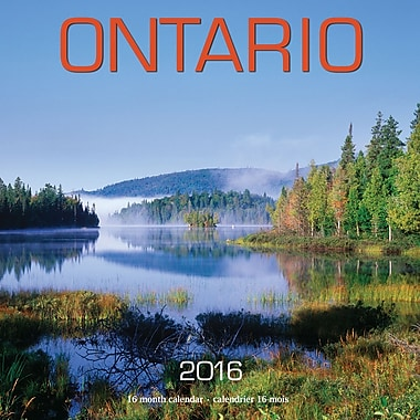 BrownTrout Publishers – Calendrier mural 2016, 12 mois, Ontario, 12 x 12 po, bilingue