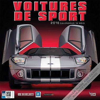 2016 BrownTrout Publishers 12-Month Wall Calendar, Sports Car, 12