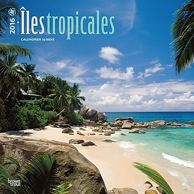 2016 BrownTrout Publishers 12-Month Wall Calendar, Tropical Islands, 12