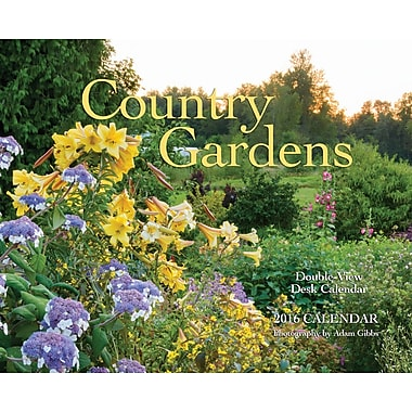 2016 BrownTrout Publishers 12-Month Double-View Easel Desk Calendar, Country Gardens, English