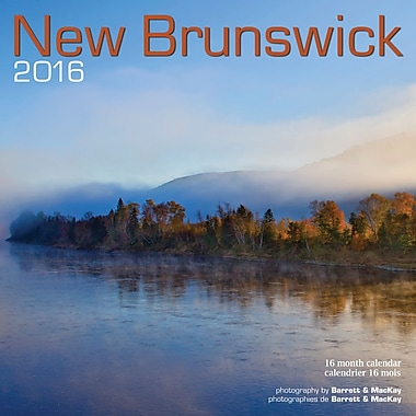BrownTrout Publishers – Calendrier mural 2016, 12 mois, New Brunswick, 7 x 7 po, bilingue