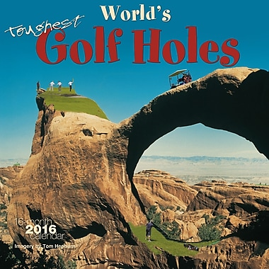 BrownTrout Publishers – Calendrier mural 2016, 12 mois, World's Toughest Golf Holes, 12 x 12 po, anglais