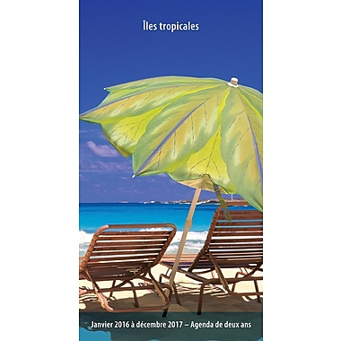 2016 BrownTrout Publishers 2 Year Pocket Planner, Iles Tropicales, French