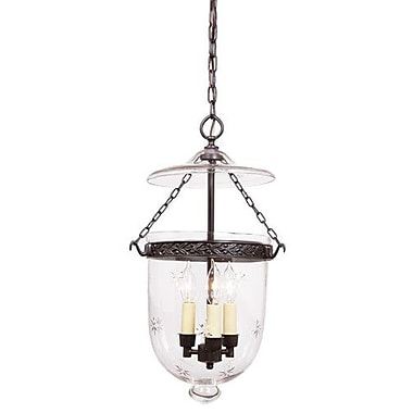 JVI Designs 3 Light Large Bell Jar Foyer Pendant w/ Star Glass; Pewter