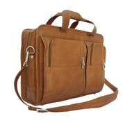 Piel Entrepeneur Professional Portfolio Laptop Briefcase; Saddle