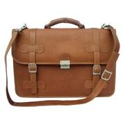 Piel Entrepreneur XXL Portfolio Leather Laptop Briefcase; Saddle