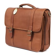Claire Chase Porthole Leather Laptop Briefcase; Saddle