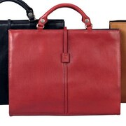 Winn International Leather Briefcase; Burgundy