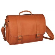 David King Porthole Padded Leather Laptop Briefcase; Tan
