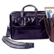 Winn International Cowhide Leather Briefcase; Black
