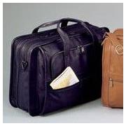 Winn International Cowhide Leather Briefcase; Black