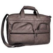 David King Organizer Leather Briefcase; Black