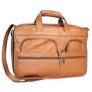David King Organizer Leather Briefcase; Tan