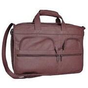 David King Organizer Leather Briefcase; Cafe / Dark Brown