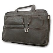 David King Leather Laptop Organizer Briefcase; Black