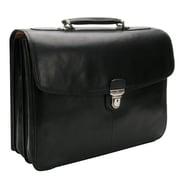Tony Perotti Green Bella Russo Leather Laptop Briefcase; Black