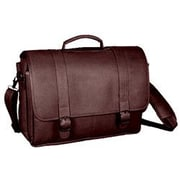 David King Porthole Padded Leather Laptop Briefcase; Caf  / Dark Brown
