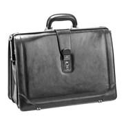 Mancini Signature Leather Laptop Briefcase; Black