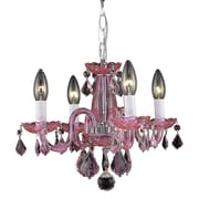 Elegant Lighting Rococo 4 Light Chandelier; Pink / Rosaline (Pink)