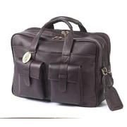 Claire Chase Platinum Leather Laptop Briefcase; Caf