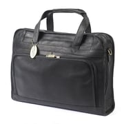 Claire Chase Professional Leather Laptop Briefcase; Black