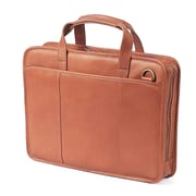 Claire Chase Small File Leather Laptop Briefcase; Saddle