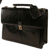 Stebco Structured Full-Grain Leather Briefcase; Black