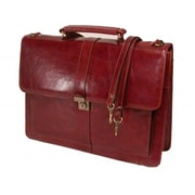 Stebco Structured Full-Grain Leather Briefcase; Caramel