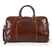 Tony Perotti Perugia 18.5'' Italian Leather Weekender Duffel; Brown