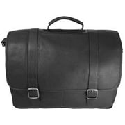 David King Porthole Padded Leather Laptop Briefcase; Black