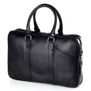 Clava Leather Bridle Slim Top Handle Leather Laptop Briefcase; Bridle Black