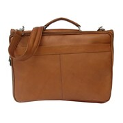 Piel Entrepreneur Double Executive Laptop Briefcase; Saddle