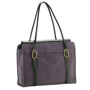 Coakley Signature Suede Everyday Laptop Zipper Portfolio Tote Bag; Fathom