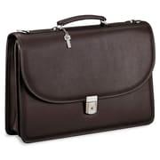 Jack Georges Platinum Double Gusset Leather Briefcase; Black