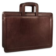 Jack Georges Belting Double Gusset Leather Briefcase; Brown