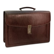 Jack Georges Belting Triple Gusset Leather Briefcase; Brown