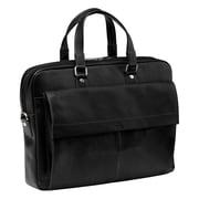 Mancini Colombian Slim Leather Laptop Briefcase; Black