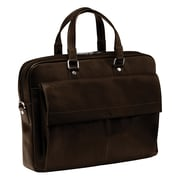 Mancini Colombian Slim Leather Laptop Briefcase; Brown