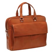 Mancini Colombian Slim Leather Laptop Briefcase; Cognac