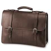 Jack Georges University sized Triple Gusset Leather Briefcase; Brown